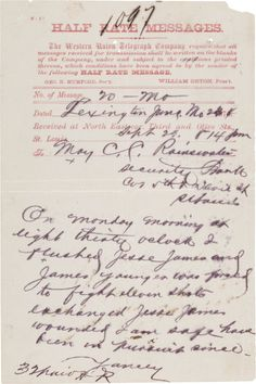 A Letter From Frank James To His Wife Annie While He Was In