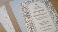Art Deco Letterpress Border | Art Deco Wedding Invitations Blue Brown 500x280 Art Deco Garden Party ...