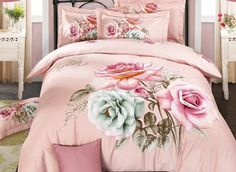 Cotton bedding four sets twill print bed cover bed sheet 2 pillowcases Rose Cheap Bedding Sets, Cheap Bed Sheets, Bedding Sets Online, Duvet Bedding, Cotton Bedding, Comforter Sets, Cama Floral, Designer Bed Sheets, Hotel Collection Bedding