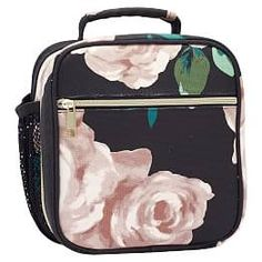 Head to lunch in style! This ultra-sweet floral design accented with shining gold hardware makes this lunch bag as fashionable as it is functional. Designed exclusively for PBteen by celebrity stylists and fashion designers Emily Current and Merit… Girls Lunch Bags, Kids Bags, Cute Luggage, Girls Luggage, Cute Lunch Boxes, Pottery Barn Kids Backpack, Emily And Meritt, Pb Teen, Backpack For Teens