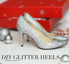 DIY SPARKLE PUMPS by @merricksart | Silver Glitter Heels | DIY Glitter Shoes