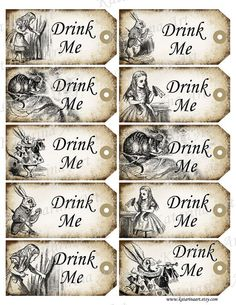 DRINK ME - Alice in Wonderland printable gift Hang Tag. Whimsical drink me cheshire cat labels. Digital Collage Sheet. k2112