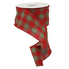 """Faux Burlap Ribbon 4"""" x 25 yards Color: Red, Moss Green Check Material: 100% Polyester Wire Edge"""