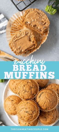 A Healthy Zucchini Muffins Recipe that is easy to make and yummy! Gluten free, moist and fluffy - these are perfect zucchini bread muffins! Made with no sugar, these clean eating muffins are absolutely delicious and perfect if you add some chocolate!