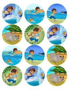 """Go Diego Go Edible Image Photo Cup Cake Toppers Set of 12 2 1 2"""" $3SHIP 