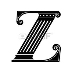 letter z: Font made in the classic old style. Stock Photo