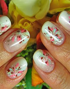Great Flat Red Sexy Nail Design With Flowers ... http://easynaildesigns.org/sexy-nail-designs/