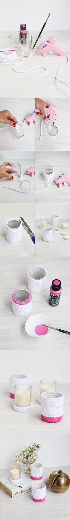 Portavelas decorado con cuerda - freutcake.com - DIY Painted Rope Votives