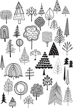 Hand drawn vector doodle trees, quirky and fun nature and Christmas clip art.