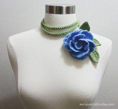 Crochet Large Petal Light Blue Rose  Lariat by SornjasCrafts, $17.00