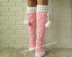 Lace knit socks womens, socks with pompons, woman leg warmers, Hand knit knee socks. Lace Knitting, Knitting Socks, Womens Wool Socks, Pink Socks, Crochet Shoes, Women Legs, Knee Socks, Knitting Accessories, Leg Warmers