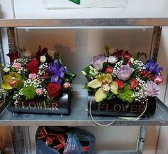 orhidee, minirosa,trandafiri, iris, green tick, frezii, hiprycum, ghipsofila... Iris, Floral Wreath, Boxes, Wreaths, Flowers, Green, Home Decor, Floral Crown, Crates