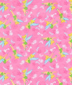 Springs Creative Disney Tinkerbell Tink With Key & Butterfly Flannel Fabric