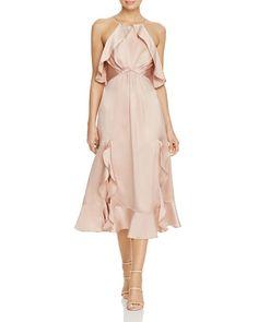 Jarlo Ruffled Satin Midi Dress Blush $150 FREE SHIPPING OR PICK UP