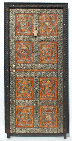 Moroccan cedar, camel-bone and silver Door