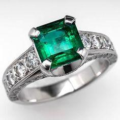 Columbian Emerald Engagement Ring w/ Diamond Accents Platinum - EraGem