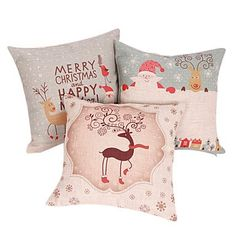 Bailandset of 3 Merry Christmas Series Decorative Pillow Cover -- See this great product.