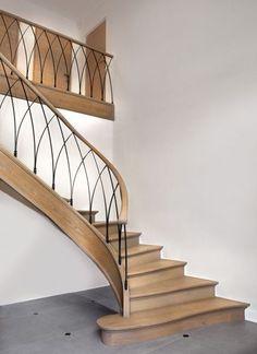 26 Ultimate Farmhouse Staircase Decor Ideas And Design Staircase Railing Design, Modern Stair Railing, Wrought Iron Stair Railing, Home Stairs Design, Staircase Makeover, Staircase Railings, Modern Stairs, Interior Stairs, House Design