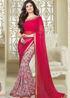 Shreedevi Textile Coimbatore - Vinay-Dark Pink with Half White Semi Georgette Saree-16621