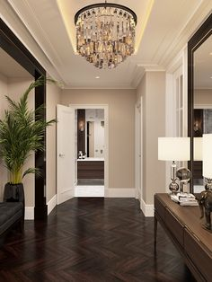 Riverside - apartment in classic style Riverside – apartment in classic style on Behance Home Room Design, Living Room Designs, House Design, Casa Pop, Riverside Apartment, Riverside Residence, Flur Design, Entryway Lighting, Hallway Designs