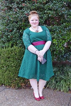 SWAK Designs Harlow Lace Dress in Emerald. plus size fashion, plus size dress, holiday party dress, christmas style