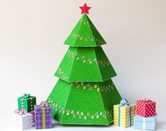 Christmas Decor Christmas Tree Favor Box Holiday by PaperBuiltShop
