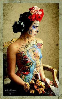 Dia de los Muertos Frida Kahlo shoot; Day of the Dead. Mexican Bride. Sugar Skull body art.