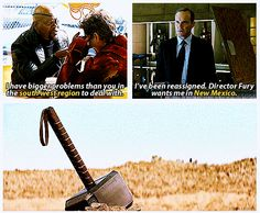 Iron Man2 ...Thor's introduction. So this all happened during the saw time! It makes so much sense!