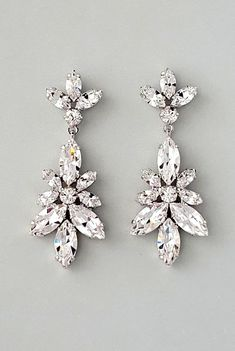 Marlena Dupelle - Claudia Earrings: leaf patterned crystal earrings with a botanical look and a tremendous amount of sparkle - Bridal jewelry