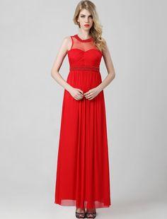 A Line Jewel Floor Length Red Evening Dress