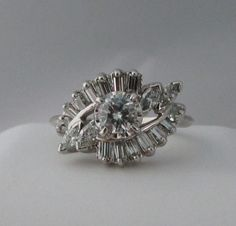 Amazing Vintage White Gold Diamond Cluster Engagement by Ringtique, $1695.00