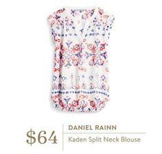 Stitch Fix Daniel Rainn Kaden Split Neck Blouse -- great for 4th of July