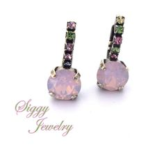 Swarovski Crystal Earrings rose water opal with by SiggyJewelry