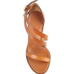 Chloe' Niko Leather Sandals ($490) ❤ liked on Polyvore featuring shoes, sandals, tan leather shoes, chloe sandals, strap sandals, leather shoes and strappy shoes