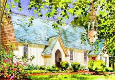 Watercolor Christ Church MD, Owensville MD Painting, Watercolor Art of Church, lovely Church Owensville Painting, Beautiful Church MD Painting,