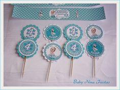 Kit de fiesta Frozen Frozen Cupcake Toppers, Frozen Cupcakes, Frozen Birthday Party, Frozen Party, Birthday Parties, Freeze, Frozen Decorations, Elsa Frozen, Birthdays