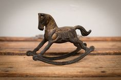 """Vintage Solid Brass 5.5"""" Rocking Horse Figure, Rusty, Dirty Metal, Rustic Home Decor"""
