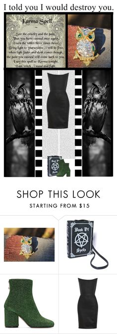 """YXTABAY (49)"" by irresistible-livingdeadgirl ❤ liked on Polyvore featuring Maison Margiela, Gareth Pugh, AME, emo, LittleBlackDress, LBD, owls and karma"