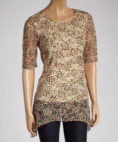 Look what I found on #zulily! Brown Leopard Sidetail Scoop Neck Top - Women by Tiana B, $30 !!  #zulilyfinds