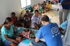 IOM Surge Team leader George Gigauri at the Ponga Church evacuation centre in Vanuatu. © IOM/Joe Lowry 2015