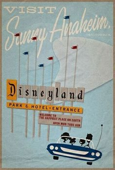 Vintage Disneyland poster - Click image to find more Illustrations & Posters Pinterest pins