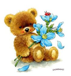 Teddy- Belles illustrations de G.Giordano /Tulip et Marigold Bear Clipart, 2 Clipart, Tatty Teddy, Cute Images, Cute Pictures, Night Pictures, Morning Pictures, Happy Monday Pictures, Tuesday Pictures