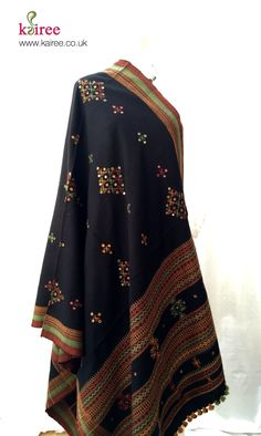 Handmade shawl - Mirror work from Kutch, India Hand Embroidery Videos, Embroidery Dress, Kurti Neck Designs, Blouse Designs, Frock Models, Garba Dress, Kutch Work Designs, Baggy Dresses, Frock Fashion