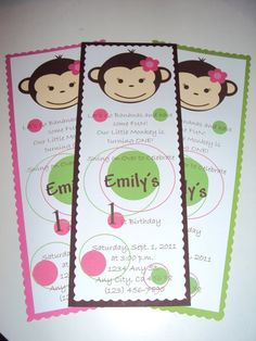 Mod Monkey Girl Invitations  Mod Monkey Girl by KnitCraftLove, $1.50