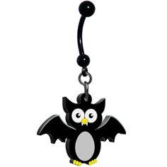 Owl Bat Belly Ring #Piercing #bodycandy #halloween