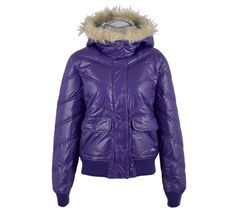 Very soft fake fur around hood. Ribbing on sleeves and bottom. Lined with soft plaid cotton flannel.   This purple Roxy ladies coat is a warm lifestyle jacket with a detachable hood.  The hood is decorated with a faux-fur rim and the winter jacket has two pockets.  This water-repellent winter jacket has elastic cuffs.  Purple Roxy winter jacket for women Detachable hood with faux-fur rim Two pockets.  Water-repellent.