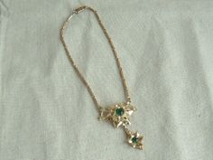 Vintage  Choker Style Gold Tone  Necklace with Green and White Rhinestones