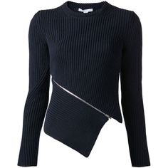 ALEXANDER WANG ribbed zip detail sweater (1.900 RON) ❤ liked on Polyvore featuring tops, sweaters, outerwear, alexander wang, jumper, alexander wang top, alexander wang sweater, alexander wang jumpers, ribbed top and rib top