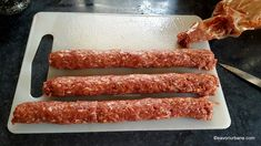 Mici de casa reteta de mititei pufosi - pasta de mici | Savori Urbane Romanian Food, Bacon, Cooking Recipes, Breakfast, David, Kitchens, Morning Coffee, Chef Recipes