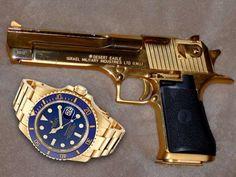 Insolite Rolex et Desert Eagles caliber en plaqué or Rolex, 44 Magnum, Desert Eagle, Eagles, Weapons Guns, Luxury Watches, Firearms, Hand Guns, Deserts